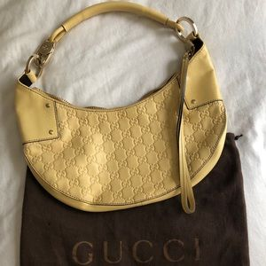 Vintage Gucci Embossed butter yellow shoulder bag